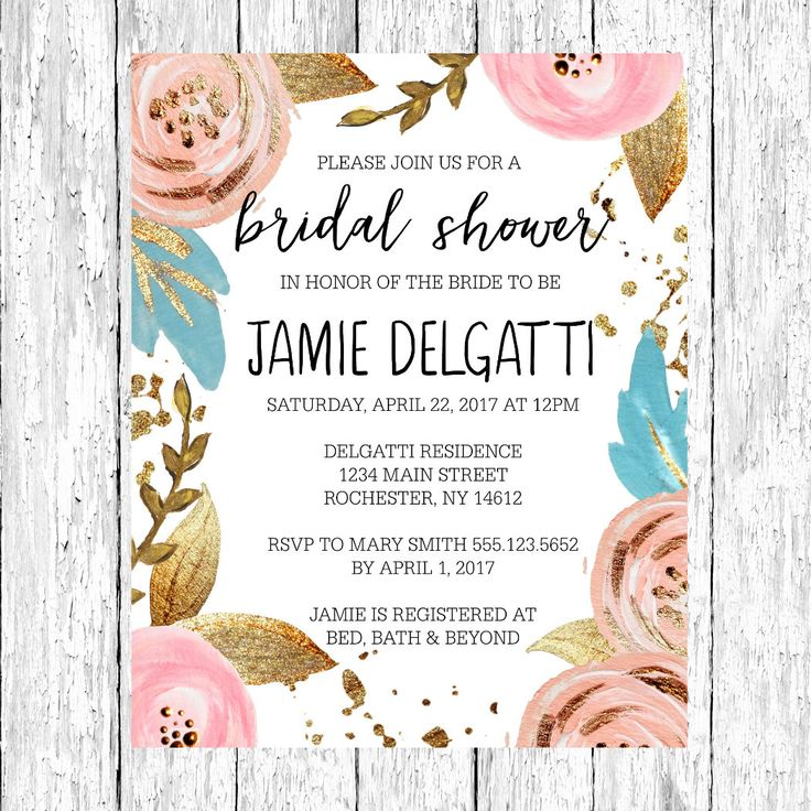 custom bridal shower invitation // blush and gold bridal shower invitation // rustic bridal shower invitation // floral bridal shower invite by DillWeddingDesigns on Etsy https://www.etsy.com/listing/481323368/custom-bridal-shower-invitation-blush