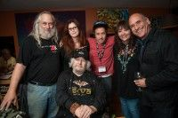 Woodstock Film Festival co-founder Laurent Rejtö; filmmaker Michelle Esrick; actor-comedian Pauly Shore (who premiered film 'Pauly Shore Stands Alone'); BMI's Doreen Ringer-Ross and singer-songwriter David Broza. Front row — Entertainer and peace activist Wavy Gravy.