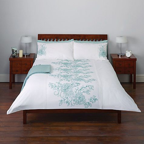 Buy John Lewis Tilly Floral Embroidered Duvet Cover and Pillowcase Set, Duck Egg Online at johnlewis.com