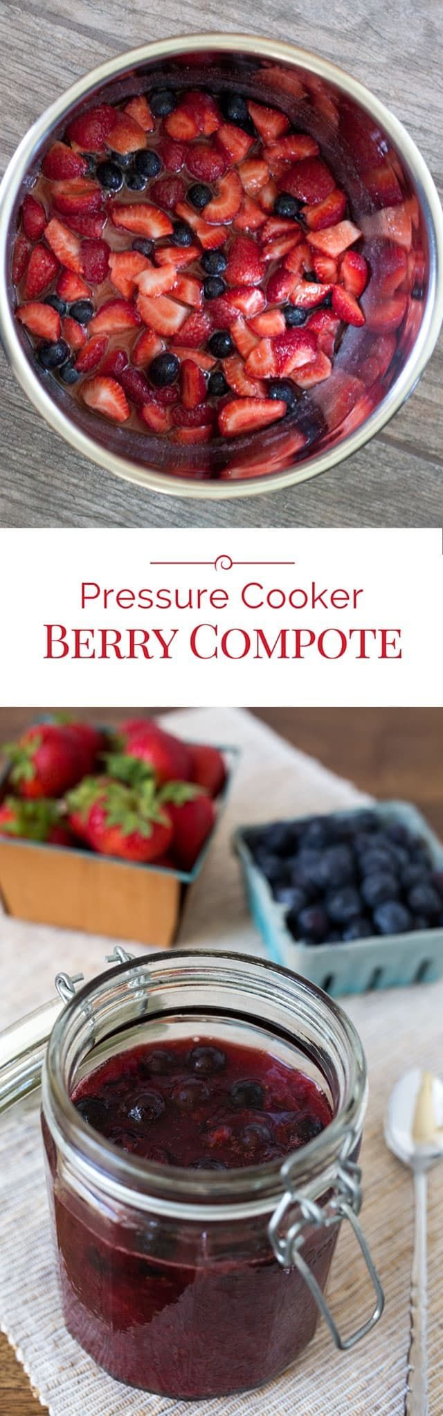 A quick, easy-to-make, delicious Pressure Cooker Berry Compote made with juicy, sweet fresh strawberries and blueberries. . . #compote #berries #pressurecooking