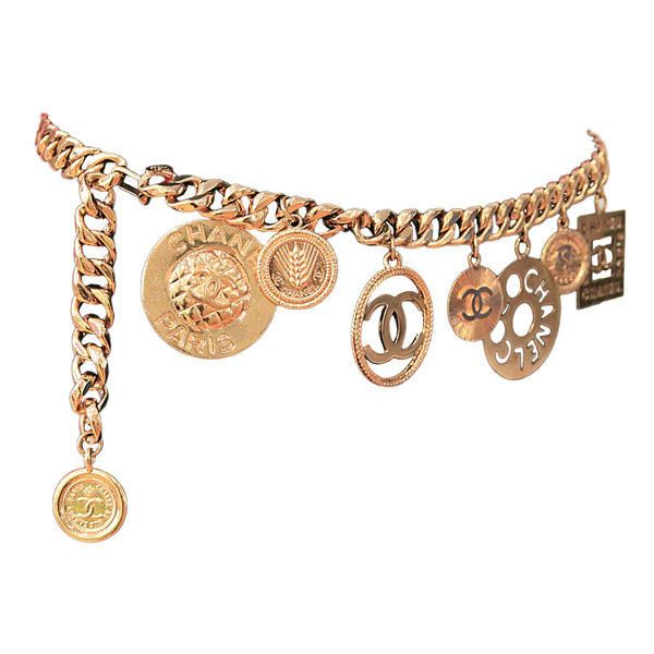 Chanel - CHANEL GOLTDONE MEDALLION CHAIN BELT ❤ liked on Polyvore featuring accessories, belts, jewelry, acc, chanel, chanel belt and chain belt