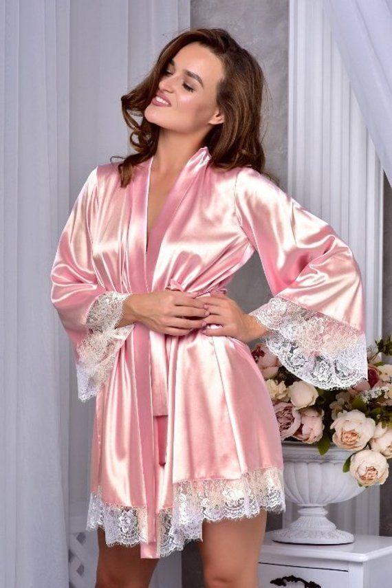 Erröten Rosa Kimono Kleid Kleid Frauen Spitze Braut satin gew. Brautjungfer Robe Immer bereit Robe für Braut Valentinstag Geschenk Braut Mantel