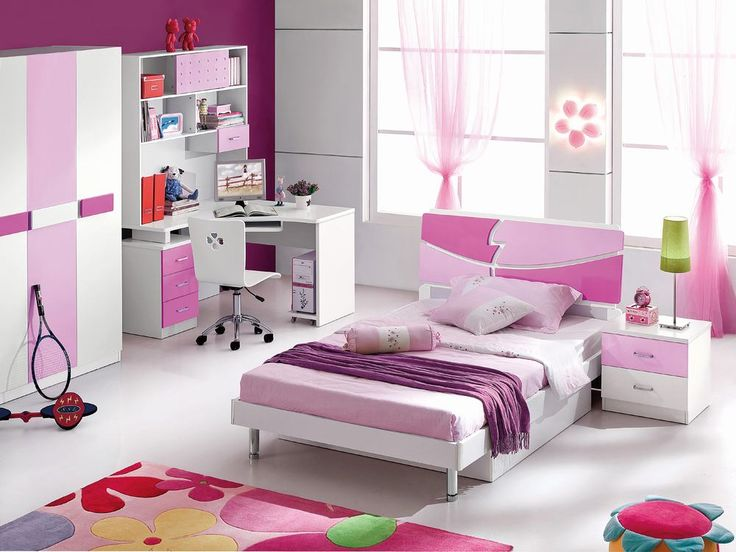 Girl Bedroom Design With White And Pink Furniture Sets And Carpet Girls Bedroom Furniture