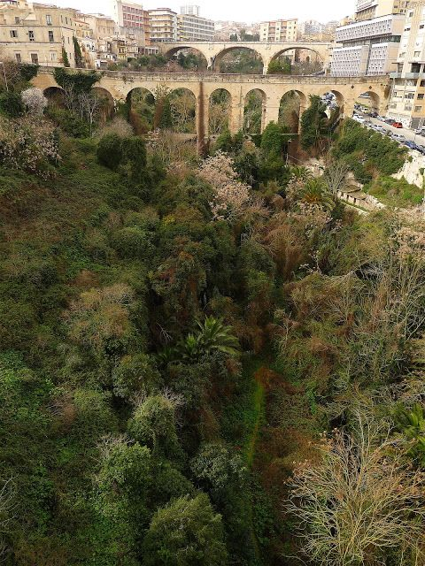 The Valleta in Ragusa is crossed by three bridges that connect the old town to the modern part of Ragusa.  Jeffrey Bale's World of Gardens: Ragusa, Sicily