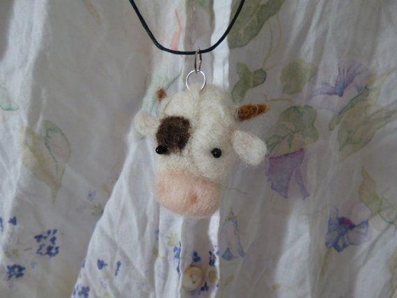 Needle Felted Kawaii Cow Pendant