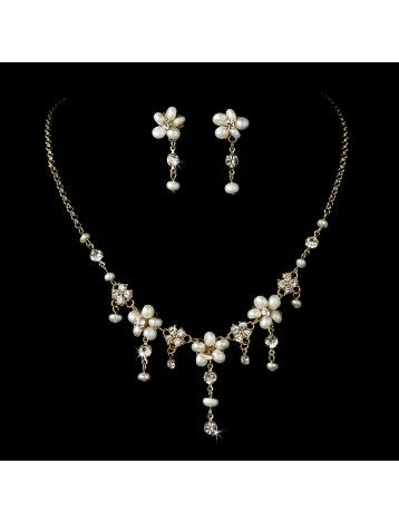 GOLD CRYSTAL & PEARL FLORAL NECKLACE & EARRING SET - BRIDAL WEDDING JEWELLERY - Pearl Jewellery Sets - Wedding Jewellery Sets - Wedding Jewellery - Wedding Accessories