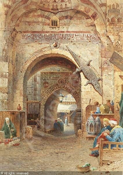 """""""A street in the souk"""" by Henry Sutton Palmer, sold by Bonhams, London, on Tuesday, May 10, 2005. Note the suspended crocodile!"""