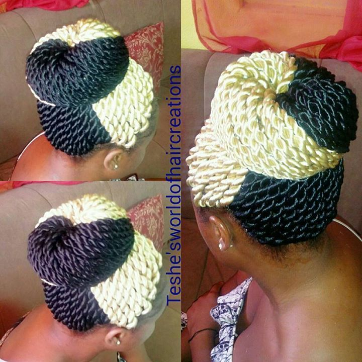 Crochet Hair Rope Twist : Crochet Rope Twist done with X-pression braid