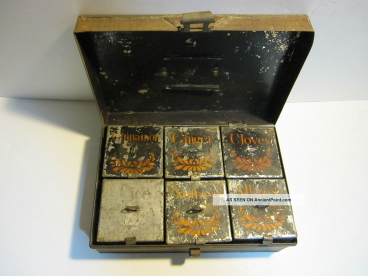 Antique Victorian Primitive Tin Hinged Spice Box Container