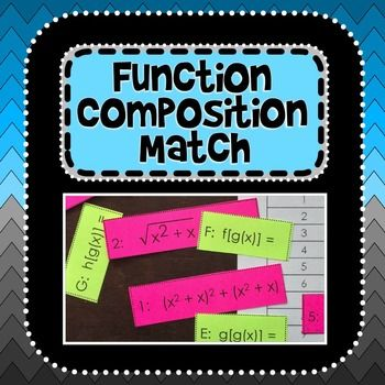 This activity is a good introduction to function composition and gets students thinking about what it looks like to compose functions together. There are three functions that will each compose with each other and with themselves: a linear, a quadratic and a radical (square root). After matching the compositions to their notations, students record their answers on the included answer sheet. An answer key is also included.