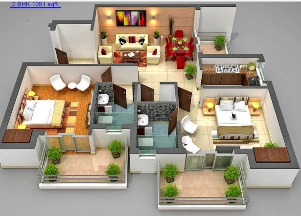 Home Design, Luxurious A Picture Of Article With Theme Free Floor Plan Creator With Some Application Freeware Software That Can Finf On The Internet With Two Large Bedrooms And Two Balcony With Small Living Room Small Kitchen And Dining ~ Create Home Floor Plans With Free Floor Plan Creator Software Apps