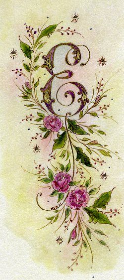 Ink Flourishes: E is for Embroidery--- replace the E with a V and add violets! I love the vintage and feminine style!