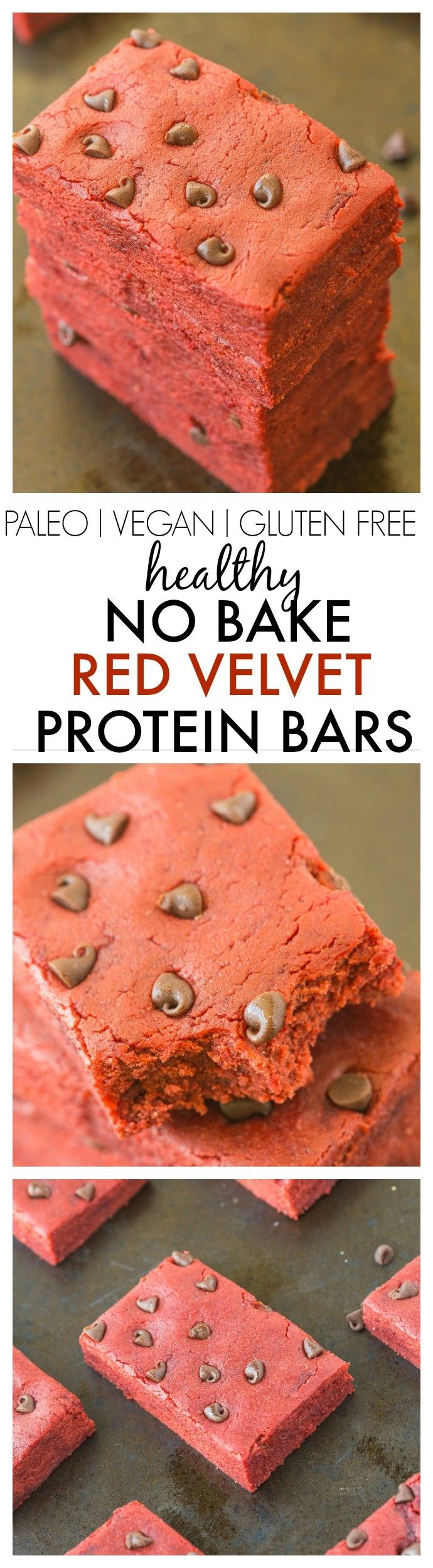 Healthy No Bake Red Velvet Protein Bars- 10 minutes and 1 bowl to make these extra chewy, soft and delicious snack bars- No added sugar too! Perfect for Valentine's day too!{vegan, gluten free, paleo, sugar free recipe}- thebigmansworld.com