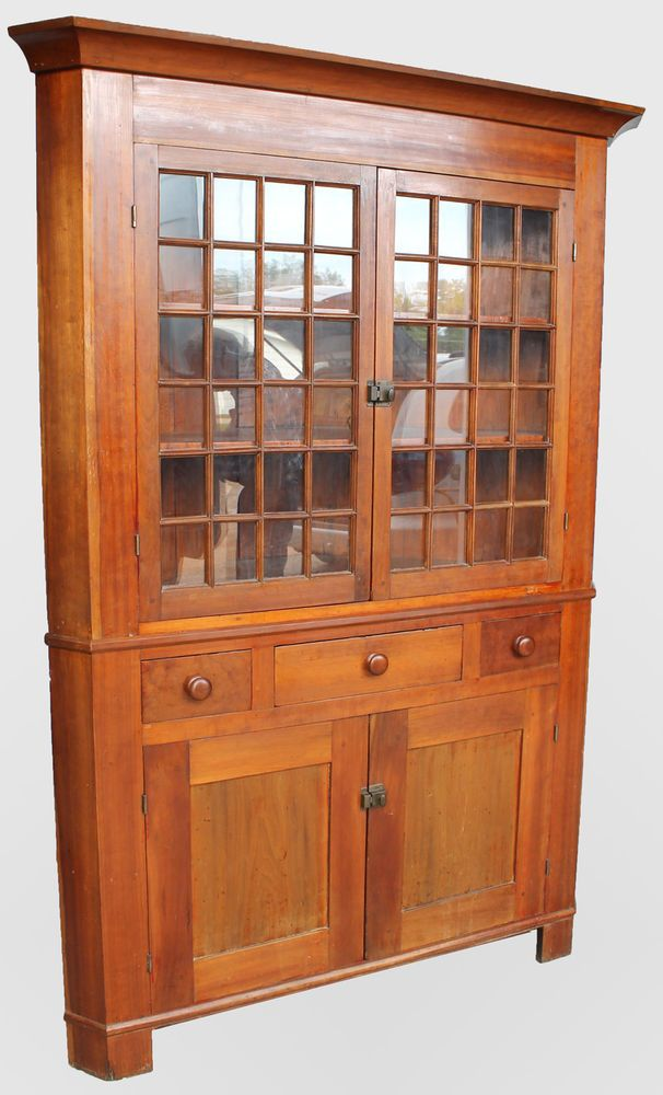 Antique Ohio Cherry Primitive Corner Cupboard 48 Pane Windows