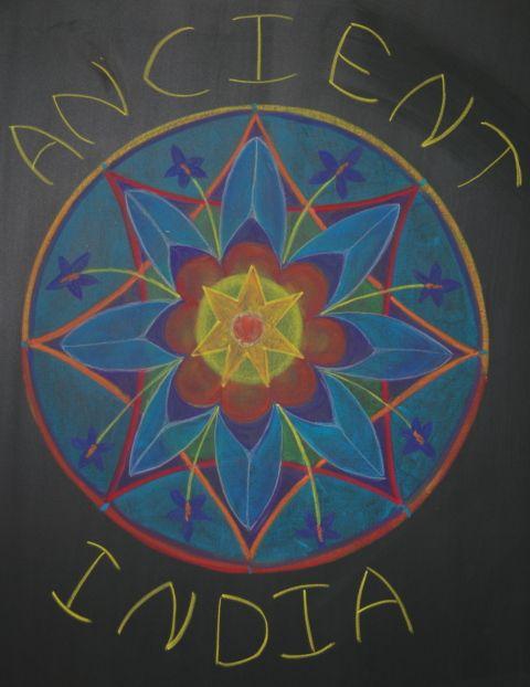Waldorf ~ 5th grade ~ Ancient India ~ Title Page ~ Lotus Flower Mandala ~ chalkboard drawing