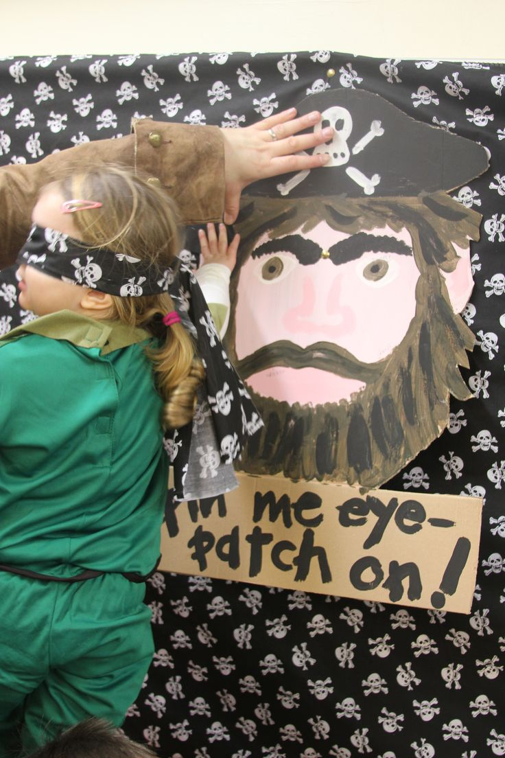 pin the eye-patch on the pirate; Minute-to-win-it style; give gold coin to successful mateys