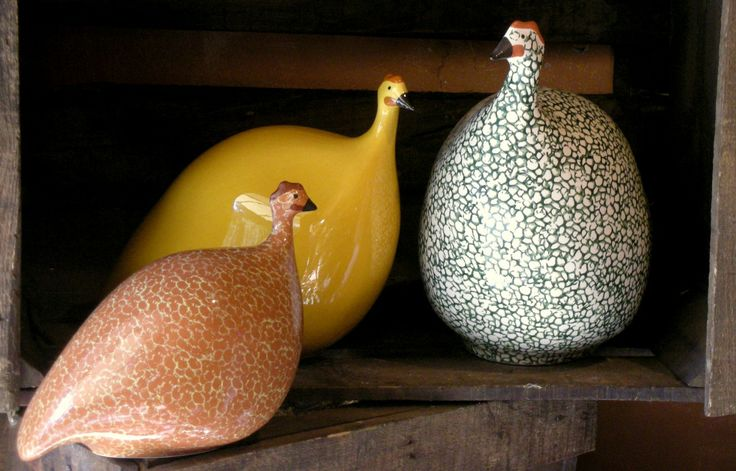 Some of the patterns and colors the Guinea Hens come in. The colors of Provence!