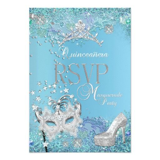 295 best shoes images on pinterest quinceanera rsvp reply masquerade quinceanera blue tiara shoe 35x5 paper invitation card stopboris Choice Image