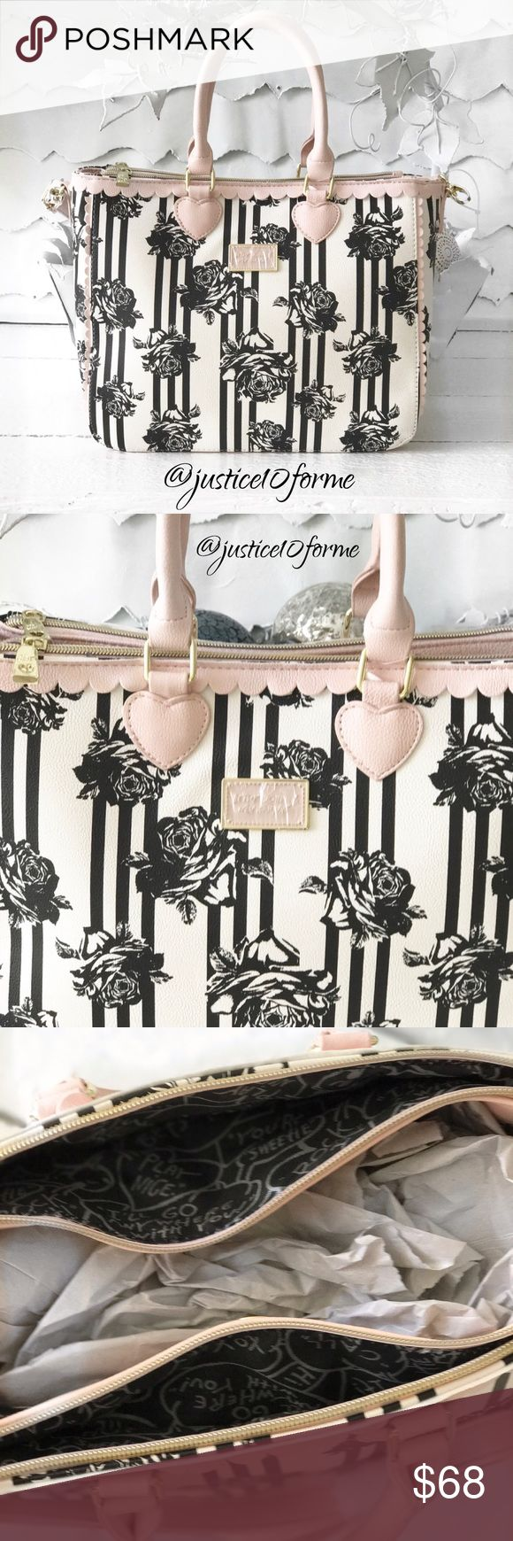 NewBJ Floral 3 Compartment Tote Black & white floral tote with blush pink scalloped top, blush bottom, handles & detachable shoulder strap. Inside center had blush trimmed zip pocket & 2 slip pockets. Front & back of bag have zip closed compartments. This bag is beautiful! NWT Betsey Johnson Bags