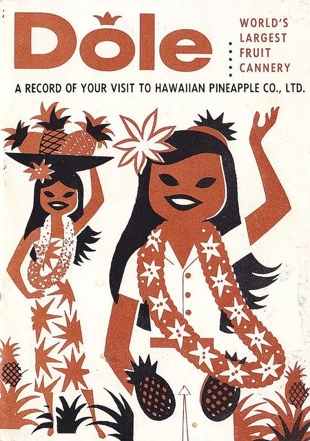 Vintage Hawaii Dole Plantation Visitor Guide 1950s. Love the pockets on her dress :)