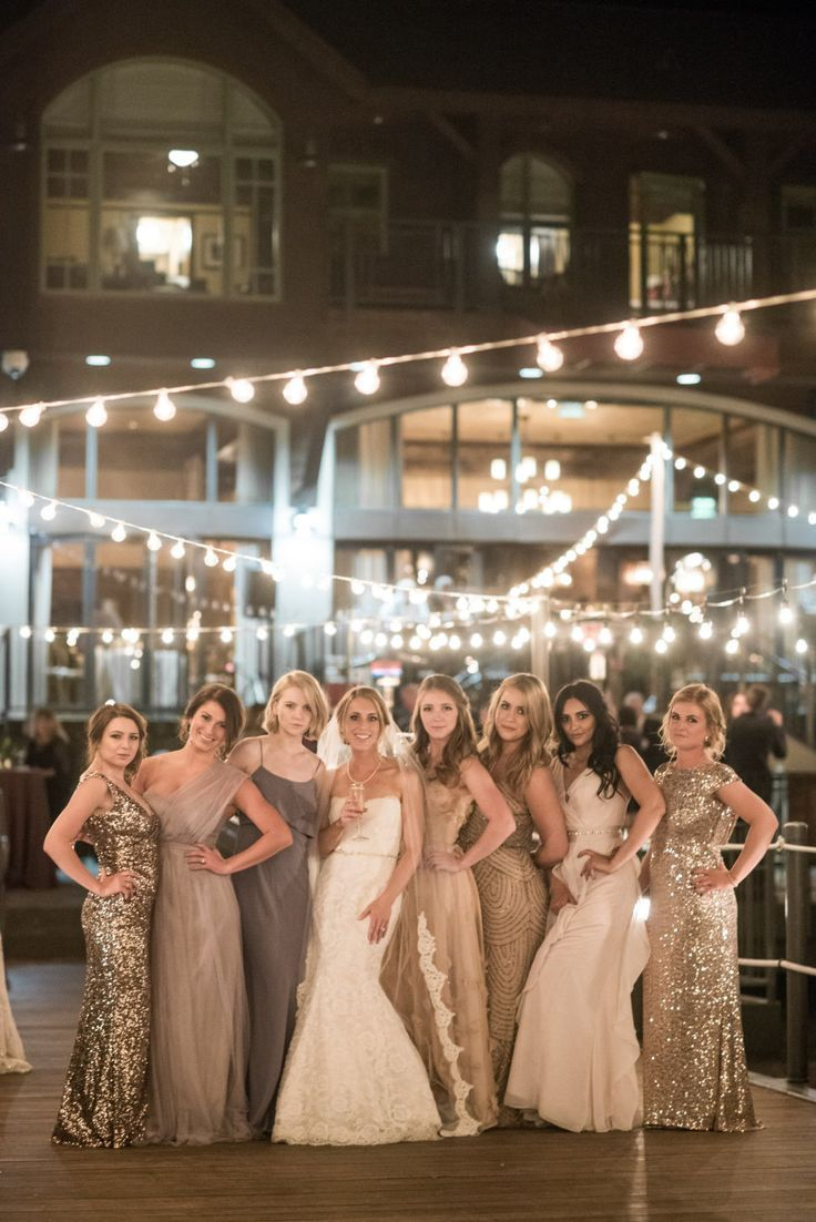 mix and match bridesmaids dresses   long metallic sequin bridesmaid gowns   neutral sparkly bridesmaids