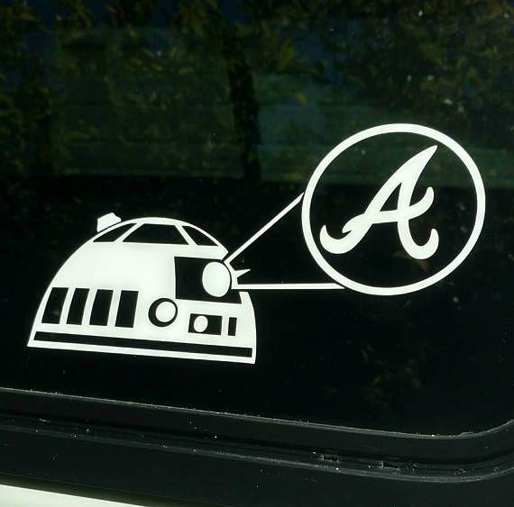 Atlanta braves star wars r2d2 artoo detoo die cut vinyl decal sticker shirt georgia baseball