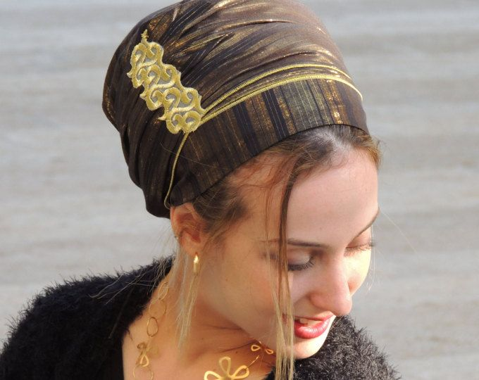 Funkelnde Black & Gold Tichel für besondere Anlässe, Haare Snood, Kopftuch, Kopf abdeckt, jüdische Headcovering, Schal, Halstuch, Schürze