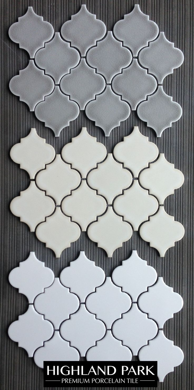 "$11.25 a Square Foot. Highland Park Arabesque Porcelain Mosaic Tile. Perfect for a kitchen backsplash or a feature wall.  This incredible porcelain mosaic comes with a collection of 3x6"" Subway Tiles, pencils, chair rail and other mosaic formats."