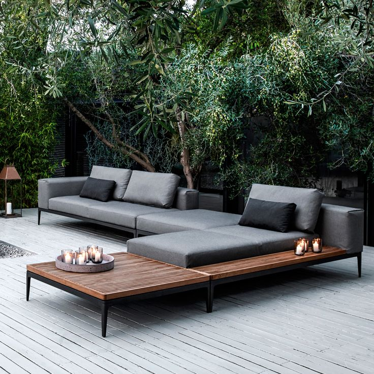 #garden 'Gloster Grid' modular chaise lounge sofa, £3,094; 'Gloster Grid' modular end unit, £3854; 'Gloster Grid' coffee table, £1,545