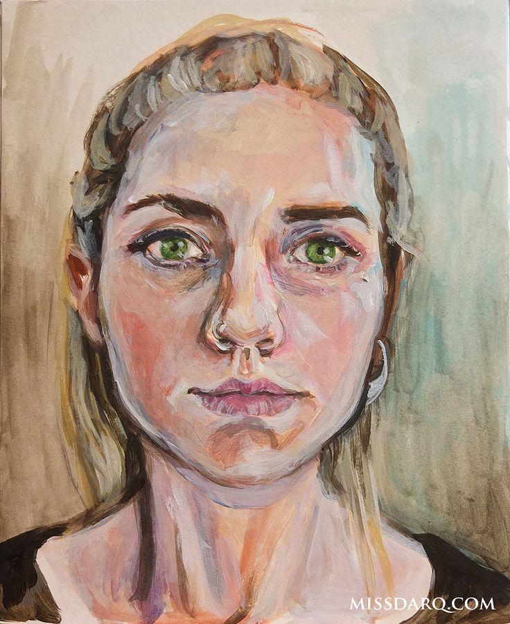 Portrait 15. Acrylic, approx 2 hours.  #selfportrait #artist #art   www.missdarq.com www.instagram.com/missdarq