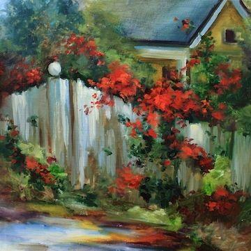Yellow Cottage Red Rose Arbor by Texas Flower Artist Nancy Medina, painting by artist Nancy Medina
