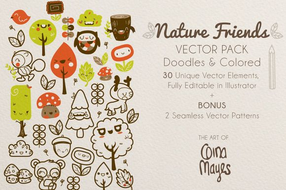 Nature Friends Vector Pack by Gina Mayes on Creative Market