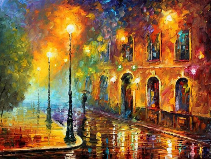 This is a painting that I really like. The best part of the painting for me is the brush technique the artist has used. He has taken a miserable, wet street into a glowing, exiting street.