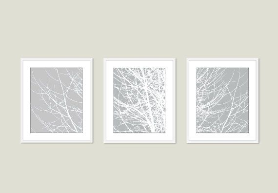 Modern Tree Branches Digital Print Set  Grey Neutral by AldariArt, $45.00 (can choose color)