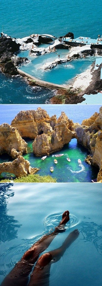 Madeira archipelago are a group of volcanic islands which has several natural Pools created when lava flow met the Atlantic Ocean many years ago. The little town of Porto Moniz is a popular tourist attraction where the main attraction is a refreshing swim in the  Lava-rock Natural pools.