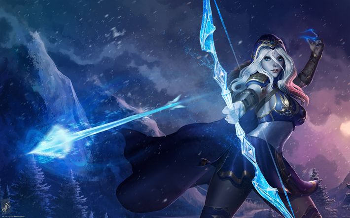 Download wallpapers Ashe, 4k, MOBA, art, archer, League of Legends