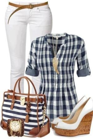 Not a fan of the shirt, but LOVE everything else! Definitely the wedges!