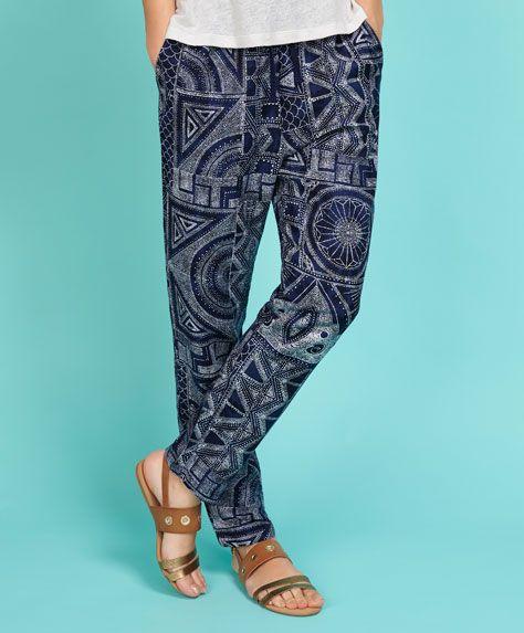 Pantalón lino estampado - PANTALONES Y SHORTS.
