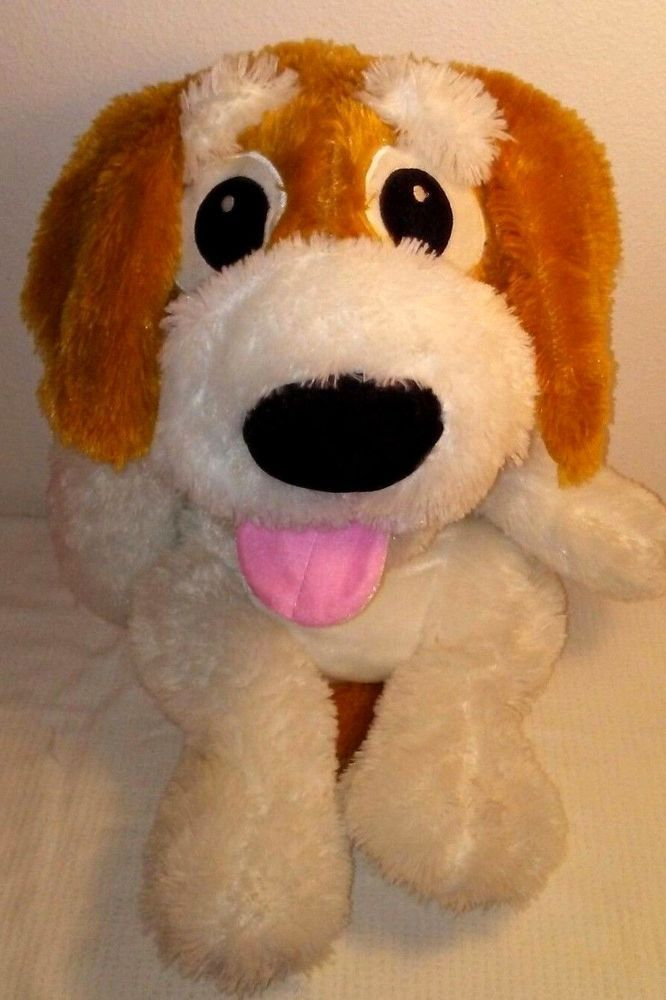 Ideal Toys Puppy Dog White Brown Soft Floppy Plush Laying Down