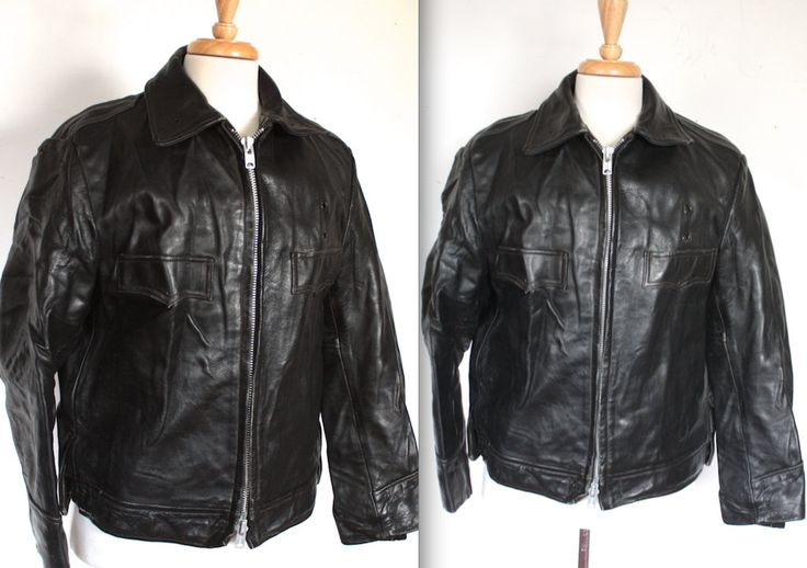 Vintage 1960s Police Jacket // Black Leather Motorcycle Jacket // 60s NYPD Jacket  Biker Jacket // by TrueValueVintage on Etsy