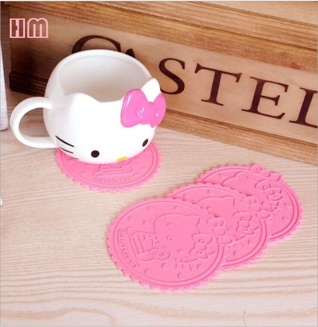 5pcs/lot Hello Kitty Silicone Anti Slip Kawaii pink Cup Mat Dish Bowl Placemat Coasters Base Kitchen Accessories Home Decoration