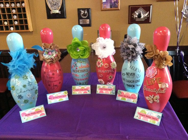 Bowling Fundraiser - Paint old (broken) bowling pins & turn them into awards, a one of a kind touch.  March of Dimes Fundraiser at Mel's Lone Star Lanes. #Fundraiser #Bowling