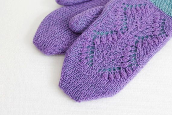 Hand knitted lilac blue mittens, Warm alpaca mittens, Winter lilac blue mittens, Thick wool purple mittens, Double purple blue mittens