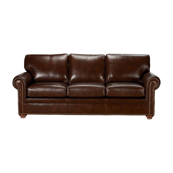Conor leather sofa omni brown ethan allen us for the for Leather sectional sofa ethan allen