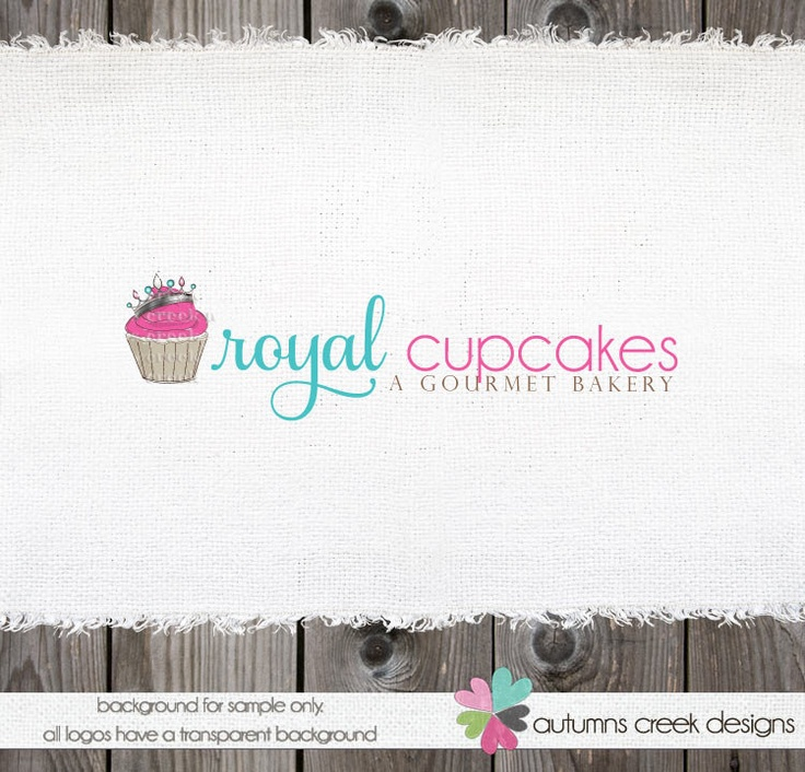 Premade Logo Design - Cupcake Bakery Shop Illustration Logo Design  OOAK Hand Drawn. $70.00, via Etsy.