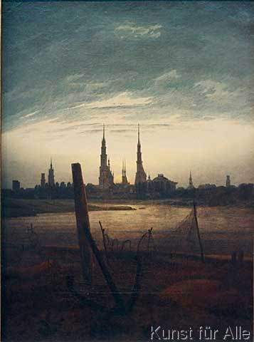 Caspar David Friedrich - Stadt bei Mondaufgang