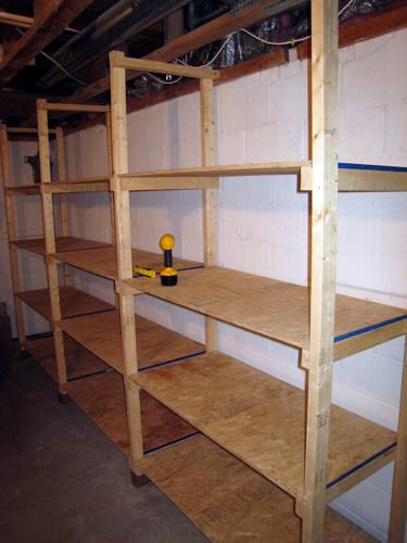 Basement Storage Shelves on the Cheap