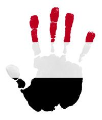 Handprints with Yemen flag illustration