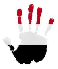 Handprints with Yemen flag illustration