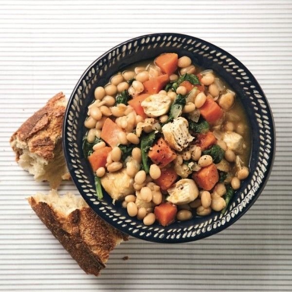 A hearty and warming stew for cool fall nights. Get this chicken and bean stew recipe and more at Chatelaine.com
